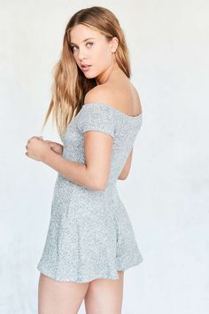 Silence + Noise Cozy Textured Knit Off-The-Shoulder Romper