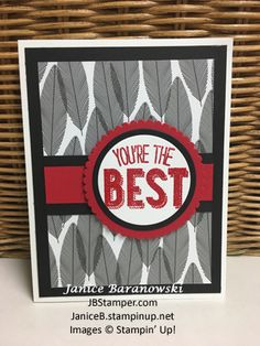 You're the best-bw-PPA322 challenge. Stampin Up Friendly Wishes stamp set, Layering Circle framelits, Real Red Glitter Stampin emboss powder, Basic Black, Real red and Whisper White card stock.