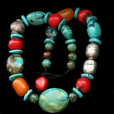 Knot Worked Turquoise Necklace. |  Natural stabilized Hubei turquoise combined with old silver & Bakelite beads. Bamboo coral beads are new. All knotwork is by hand. | Ancient Bead Art Design