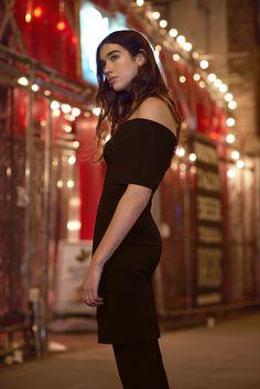 Dua Lipa in #Summer16 Stella McCartney Black Strapless dress.