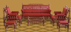 Ethnic and airy, beautiful Sankheda furniture Outdoor Chairs, Outdoor Furniture Sets, Outdoor Decor, Royal Sofa, Traditional Living Room Furniture, Sofa Set, Art Deco, Red Gold, Interior