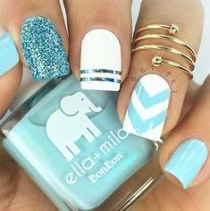 Make your short nails even more beautiful & colorful with Short Gel Nail Art designs. Here are the best Gel Nail Art designs for short nails. Cute Acrylic Nails, Acrylic Nail Designs, Acrylic Summer Nails Beach, Acrylic Tips, Bright Nail Art, Nail Art Blue, Bright Nails For Summer, Bright Blue Nails, Blue And White Nails