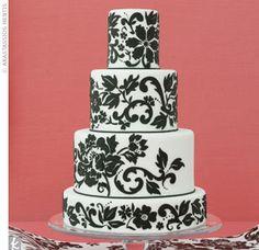 Black and white barocco wedding cake