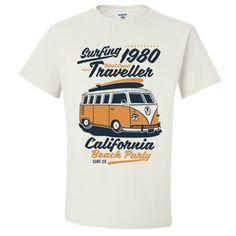 Surf T-Shirt Vintage Volkswagon Camper Van Bus Traveller West Coast Gift Adult Unisex T-Shirt West Coast California, California Beach, Unisex Gifts, Adulting, T Shirts, Camper, Surfing, Mens Tops, Stitch