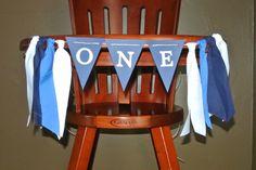 BABY BOY 1st Birthday High Chair Rag Tie Fabric Garland Birthday Banner - Smash Cake Table Decor- Photo Props - Hanging Backdrop - Nautical by ScrapBugs on Etsy https://www.etsy.com/listing/220670722/baby-boy-1st-birthday-high-chair-rag-tie
