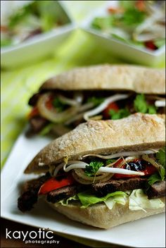 Indonesian Steak Sandwich KAYOTIC Steak Bread Onion Bell pepper 2 tbsp soy sauce 1 tbsp brown sugar (or sugar substitute) 1 clove garlic, grated Ginger, grated Chili pepper, minced 2 tbsp peanut butter 1/8 tsp sesame oil Tiny drop of olive oil Optional: lemon juice Optional: bean sprouts
