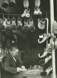 Ioanninan shoemaker making slippers in Athens, Greece (National Geographic | March 1940)