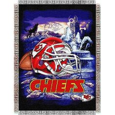 "Chiefs OFFICIAL National Football League, ""Home Field Advantage"" Woven Tapestry Throw by The Northwest Company Chiefs Wallpaper, Nfl Kansas City Chiefs, Football Art, Chiefs Football, Football Stuff, College Football, Sports Wallpapers, Tapestry Weaving, National Football League"