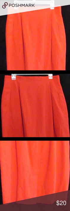 Dana Buchanan Sz 14 Red Silk Fabric Skirt Dana Buchman womens sz 14 red straight skirt  Size:  14 Style:  flat front, two front slit pockets, back kick pleat, and back hidden zipper with button closure Materials:  100% silk with 100% polyester lining  Dry clean only  Measurements (approximate):   Waist (laying flat): 15.75 inches Back length:  26 inches Kick pleat:  8 inches  Condition:  No rips, tears, or stains Dana Buchman Skirts Midi