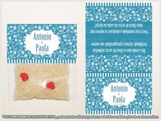 Chuva de Arroz <br>Modelo: conforme imagem <br>Material: Arroz, saquinho poli, papel Glossy/Fotográfico 180gr <br>Cada pacote contém um punhado de arroz <br>Dimensão da Lapela: (LxA) 7x12cm <br>Acompanha: Arroz, Saquinho poli, Lapela personalizada com nomes, data e dizeres na verso! <br>Produto confeccionado personalizado, também em outras cores/modelos sem alteração de preço, consulte-nos! <br> <br>Pedido mínimo: 10 unidades. <br>Tempo de produção: 10 dias úteis. <br> <br>OBSERVAÇÃO…