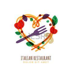 Illustrazione disegnata a mano di spaghetti italiani a forma di cuore, pomodoro, basilico e forchetta. Astratta Vector logo modello di progettazione. Concetto di tendenza per l'etichetta pasta, menu del ristorante, caffè, fast food, pizzeria.