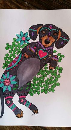Art of Dachshund Coloring Book www.etsy.com/shops/ArtByEddy Dachshund Tattoo, Mini Dachshund, Coloring Books, Coloring Pages, Dog Paintings, My Animal, Dog Art, Applique, Illustration Art
