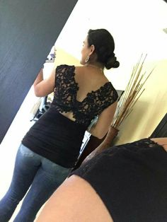 Stitch fix stylist, I Love the back of this top. So sexy. I would love this one! Bailey 44 Tallin lace knit top.