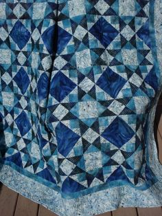 Double Bed Quilt Blue Star Patchwork by NeedleLove2