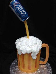 Cake for men beer bud light 31 ideas Cakes For Men, Just Cakes, Beer Mug Cake, Beer Cakes, Fondant Cakes, Cupcake Cakes, Bud Light Cake, Cake Mix Pancakes, Gravity Cake