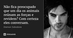Não fica preocupado que um dia os animais reúnam as forças e revidem? Com certeza eles conversam. — Damon Salvatore