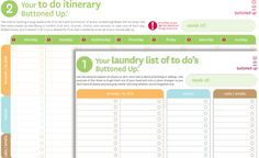 Free printable laundry list of to do's and to do itinerary form « Buttoned Up
