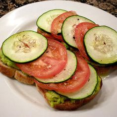 Avocado/feta spread topped with tomato and cukes. Good for lunch