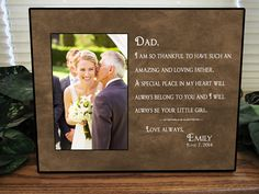 Father Of The Bride Gift Bridal Wedding Frame Dad Parents