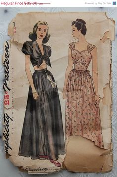 1940s sundress sewing pattern vintage sewing patterns, fashion, 1940s sundress, sundress sew, nightgown, sew pattern, 1940s simplic, sundresses, vintag sew