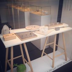 VERY nice clean lines. Secure well on stools. Maybe, if leg supports were parallel, add another shelf. #JewelryDisplays