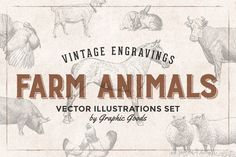 Posted by @newkoko2020 46 Farm Animals - Vintage Engravings by Graphic Goods on @creativemarket