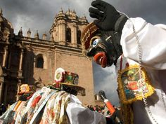 Each June, Peruvians dressed up like patron saints and virgins travel to the Plaza de Armas in Cusco for the festival of Corpus Christi. Although the celebration has Catholic roots, many anthropologists believe it also includes ancient Peruvian traditions.