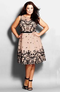 City Chic Flocked Fit & Flare Flirt Dress  (Plus Size)