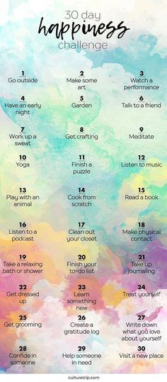 Health Motivation The 30 Day Happiness Challenge - The goal of 'being happy' can be overwhelming. Culture Trip has broken this mission down into 30 easy step 30 Tag, Vie Positive, Positive Things, Positive Thoughts, Positive Quotes, Vie Motivation, Fitness Motivation, Fitness Goals, Easy Fitness