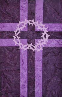 Elaine's Blogging World: Ice Dye Fabric Challenge Quilt - Lenten Banner