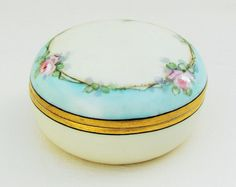 Vintage china powder box, hand painted porcelain dresser jar with pink roses, hand painted china powder jar with floral decoration