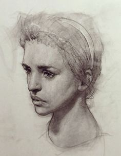 Russian academic female portrait drawing