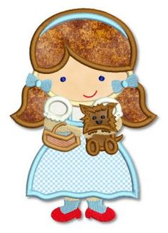 Cutie Dorothy with Toto Applique 4x4 5x7 6x10 7x11 SVG