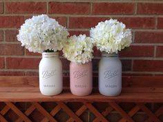 Painted mason jar, baby shower decor, baby shower mason jar, wedding shower decor, pink gray mason jar - pinned by pin4etsy.com