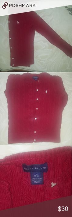 Red Ralph Lauren Sweater Cardigan Like new. Very heavy and thick material. Ralph Lauren Shirts & Tops Sweaters