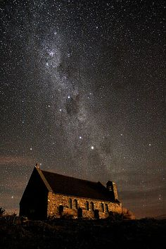 Stars over the Church of the Good Shephard - Lake Tekapo, New Zealand