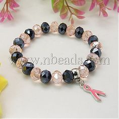 Clearance Sale Breast Cancer Support Bracelets,  Glass Beads,  with Alloy Awareness Ribbon Chrams,  Pink-in Special Store from Jewelry on Aliexpress.com