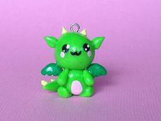 Kawaii Polymer Clay Dragon Charm by PixieAddictions on Etsy, $3.00