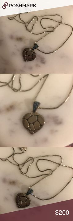 John Hardy blue topaz heart pendant Kali lava heart pendant. Great condition just needs a good cleaning John Hardy Jewelry Necklaces