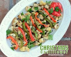 Christmas Cauliflower ♥ AVeggieVenture.com, healthy and pretty for the holidays but concept works year round. Low Carb. Vegan. Weight Watchers friendly.