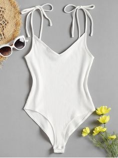 Shop for Tie Straps High Cut Bodysuit WHITE  Bodysuits S at ZAFUL. Only   15.99 aa2b83948