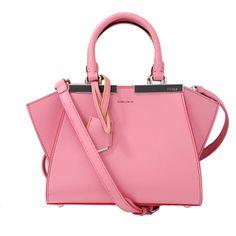 Fendi 3jours Mini Shopper ($2,450) ❤ liked on Polyvore featuring bags, handbags, pink leather handbag, shopper handbags, pink purse, zipper purse and genuine leather purse