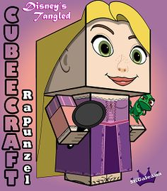 All you need is a frying pan and a chameleon and you have everything you ever need to survive, that and Flynn Rider This cubeecraft is Rapunzel from Disney's movie Tangled. Tangled Princess, Disney Tangled, Disney Diy, Rapunzel, Paper Toys, Paper Crafts, Disney Printables, Free Printables, Disney Movie Characters