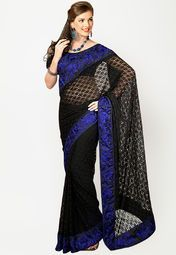 Black coloured embellished saree for women by Parvati. Made from net, this saree measures 5.5 m in length, and comes with unstitched blouse piece of 0.8 m.