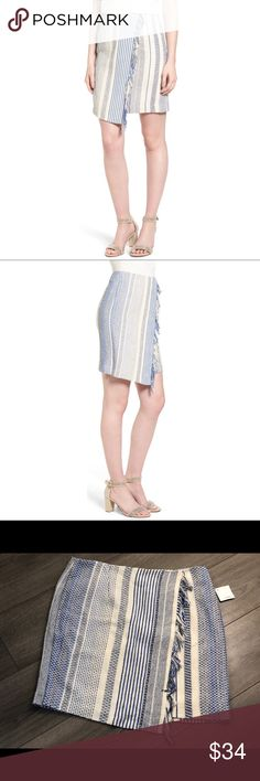 Halogen Ivory-Blue Vertical Stripe Faux Wrap Skirt NWT Blanket-inspired stitching, fringe trim combined with a faux wrap pencil skirt that's lined and has a hidden back zip closure.  Size: 14 Retail Price:$79.00 68% cotton, 18% polyester, 10% rayon, 4% other fibers Halogen Skirts Pencil