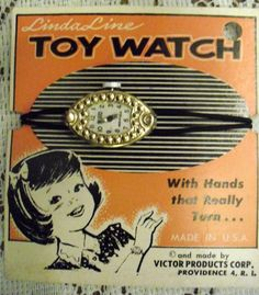Mother would buy us these at Ben Franklins 5 and 10. Only we would get the ones like this but with a smaller watch for a doll on the same package. 1950 Dime Store Toy Watch
