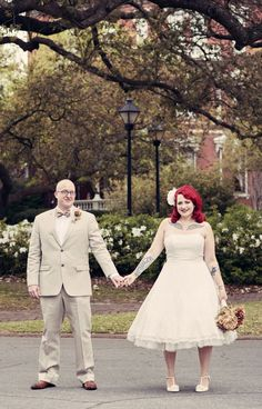 Red head bride, vintage wedding style elopement in Savannah