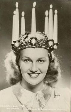 """Doris Zetterman Stockholm's Lucia, 1947. The """"Lucia Day"""" (Luciadagen) is celebrated on Dec 13th."""