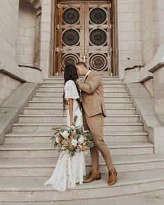 Temple Wedding Dresses, Modest Wedding Dresses, Temple Dress, Bridesmaid Dresses, Dress Wedding, Wedding Goals, Wedding Pictures, Wedding Shot, Courthouse Wedding Photos