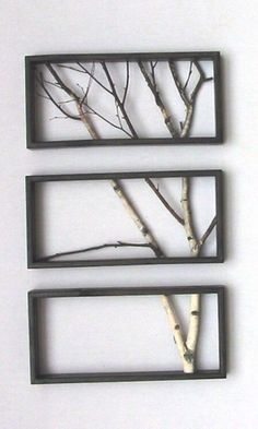 Love this idea! DIY tree branch frame. Home decor and design wall art frames #handmadehomedecor
